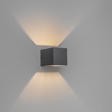 QAZQA Moderno Aplique moderno gris oscuro - TRANSFER Aluminio Cubo /Cuadrada Adecuado para LED Max. 1 x 40 Watt