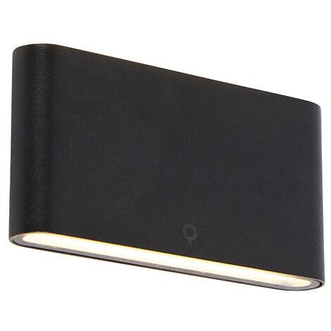 "main image of ""QAZQA Moderno Aplique moderno negro 17,5cm LED IP65 - BATT Acero inoxidable Rectangular Incluye LED Max. 2 x 12 Watt"""