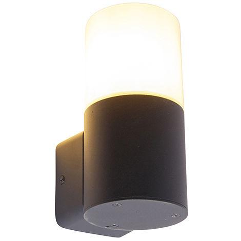 QAZQA Moderno Aplique moderno negro pantalla blanca translúcida IP44 - ODENSE Aluminio /Plástico Cilíndra Adecuado para LED Max. 1 x 15 Watt