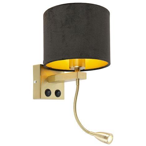 QAZQA Moderno Aplique moderno oro/latón pantalla terciopelo negra/oro - BRESCIA Metálica /Textil Redonda Incluye LED Max. 1 x 1 Watt