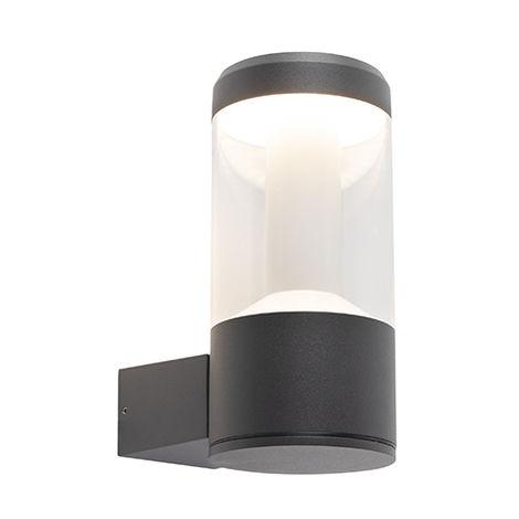 QAZQA Moderno Aplique moderno redondo gris oscuro IP54 - IMCUS Aluminio /Plástico Cilíndra /Alargada Incluye LED Max. 1 x 9 Watt