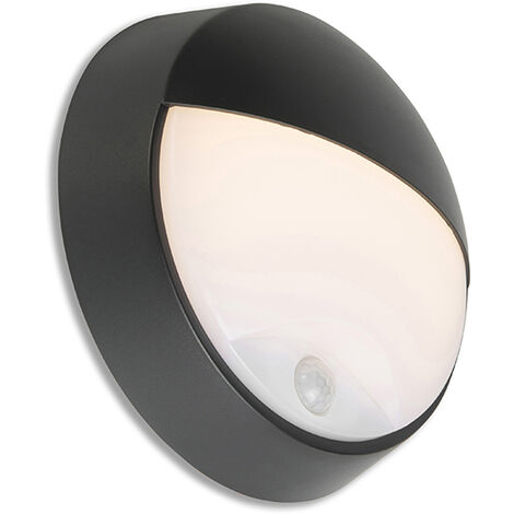 QAZQA Moderno Aplique negro LED movimiento IP54 - HORTUS Plástico Redonda Incluye LED Max. 1 x 10 Watt
