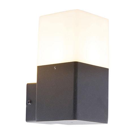 QAZQA Moderno Aplique negro pantalla blanca translúcida IP44 - DENMARK Aluminio /Plástico Rectangular Adecuado para LED Max. 1 x 15 Watt