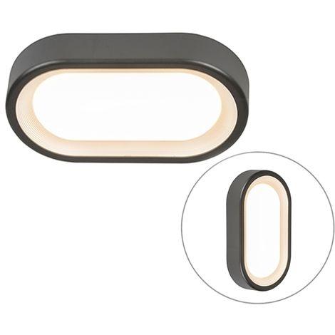 QAZQA Moderno Aplique/plafón moderno ovalado gris oscuro LED - GINNY Plástico Ovalada Incluye LED Max. 1 x 9 Watt