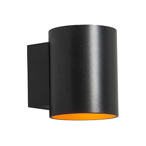 QAZQA Moderno Aplique redondo negro oro - SOLA Aluminio Redonda Adecuado para LED Max. 1 x 40 Watt