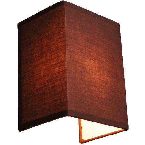 QAZQA Moderno Aplique rústico marrón - VETE Textil Rectangular Adecuado para LED Max. 1 x 40 Watt