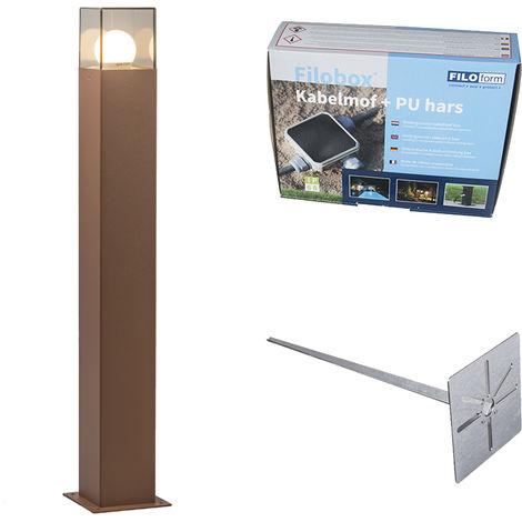 QAZQA + Moderno Baliza 70cm óxido estaca y kit conexión subterránea - DENMARK Aluminio /Plástico Cuadrada Adecuado para LED Max. 1 x 13 Watt