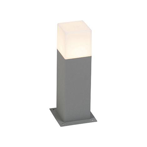 QAZQA Moderno Baliza moderna 30 cm gris IP44 - DENMARK Aluminio /Plástico Cubo /Cuadrada /Rectangular /Alargada Adecuado para LED Max. 1 x 13 Watt