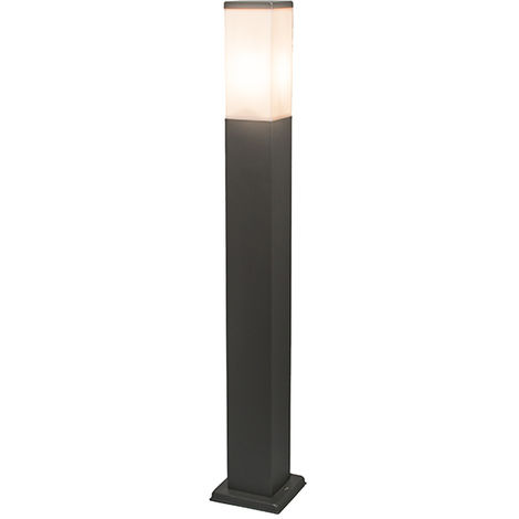 QAZQA Moderno Baliza moderna gris oscuro 45cm IP44 - MALIOS Plástico /Acero inoxidable Cubo /Rectangular /Alargada Adecuado para LED Max. 1 x 60 Watt