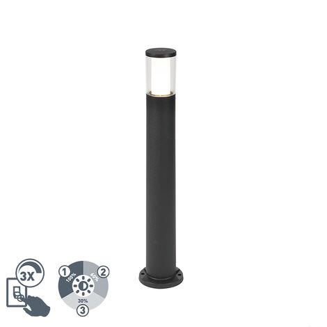 QAZQA Moderno Baliza moderna negra 80cm IP55 GU10- CARLO Plástico Alargada Adecuado para LED Max. 1 x 3.5 Watt