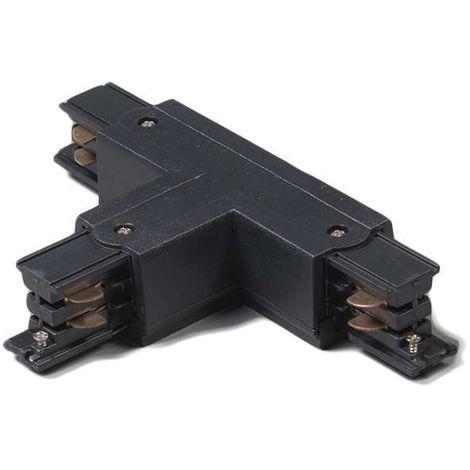 QAZQA Moderno Conector-T trifásico carril izquierdo negro Plástico Adecuado para LED Max. x Watt