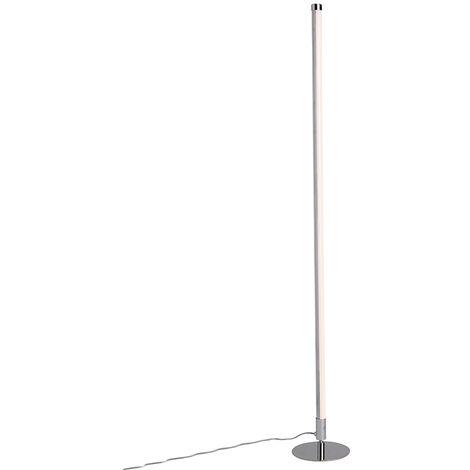 QAZQA Moderno Conjunto de 2 modernas lámparas de pie LED cromo - Line-up Plástico /Metálica Redonda Incluye LED Max. 2 x 12 Watt