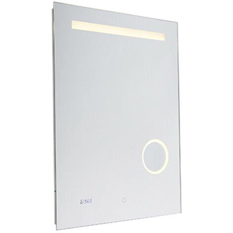 QAZQA Moderno Espejo de baño reloj regulador-táctil LED - MIRAL Vidrio /Aluminio Rectangular Incluye LED Max. 1 x 7.7 Watt