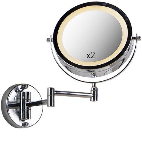 QAZQA Moderno Espejo de pared redondo de maquillaje cromado con pilas x2 - Vicino Acero Redonda Incluye LED Max. 2 x 1 Watt