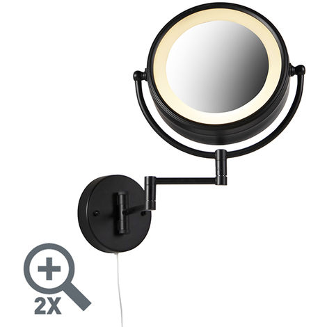 QAZQA Moderno Espejo diseño negro LED orientable IP44 enchufe-cuerda - VICINO Acero /Aluminio /Vidrio Redonda Incluye LED Max. 2 x 8 Watt