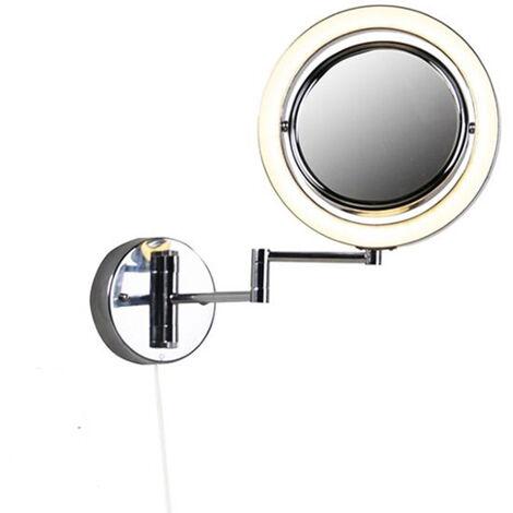 QAZQA Moderno Espejo redondo de pared con espejo de acero cromado con interruptor de cable x2 - Vicino Acero /Aluminio /Vidrio Redonda Incluye LED Max. 2 x 4.2 Watt