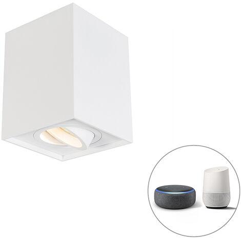 QAZQA + Moderno Foco blanco bombilla-Wifi GU10 ajustable - QUADRO 1 Up Aluminio Cuadrada Adecuado para LED Max. 1 x 5 Watt
