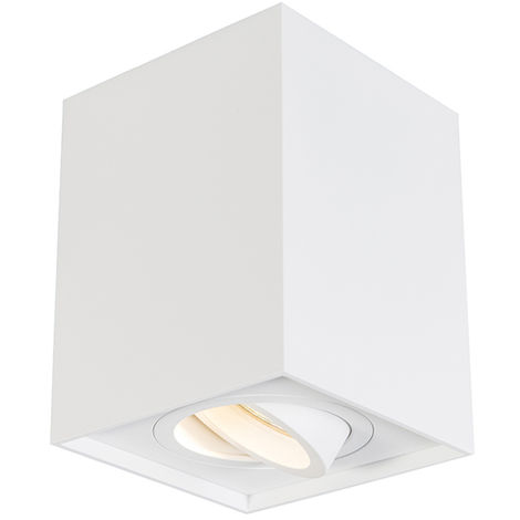 QAZQA + Moderno Foco blanco orientable - QUADRO 1 up Aluminio Cubo /Cuadrada Adecuado para LED Max. 1 x 50 Watt