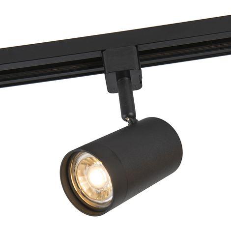QAZQA + Moderno Foco de carril monofásico negro - JEANA Acero Redonda Adecuado para LED Max. 1 x 50 Watt