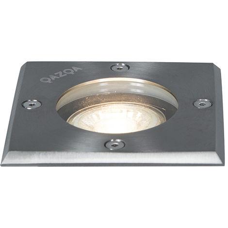 QAZQA Moderno Foco de suelo acero 10.5 cm IP65 - BASIC Square Vidrio /Acero inoxidable Cuadrada Adecuado para LED Max. 1 x 50 Watt