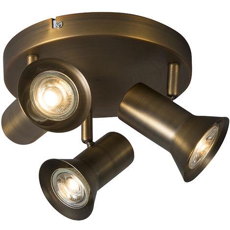 QAZQA Moderno Foco de techo bronce giratorio e inclinable - Karin 3 Metálica Redonda Adecuado para LED Max. 3 x 35 Watt