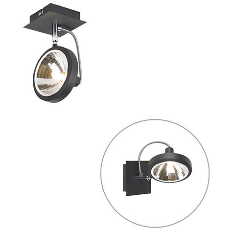 QAZQA Moderno Foco diseño negro 1-luz orientable - NOX Aluminio Cuadrada Adecuado para LED Max. 1 x 40 Watt