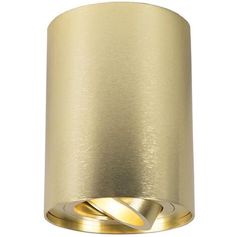 QAZQA Moderno Foco dorado giratorio e inclinable - RONDOO 1 UP Aluminio Cilíndra Adecuado para LED Max. 1 x 50 Watt