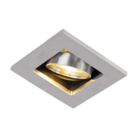 QAZQA + Moderno Foco empotrable acero bombilla-WiFi GU10 orientable - QURE Aluminio Cuadrada Adecuado para LED Max. 1 x 5 Watt