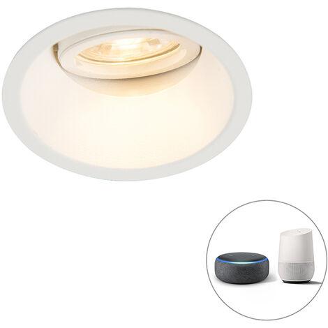 QAZQA + Moderno Foco empotrable blanco bombilla-WiFi GU10 orientable - ALLOY Aluminio Redonda Adecuado para LED Max. 1 x 5 Watt