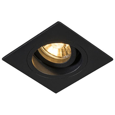 QAZQA + Moderno Foco empotrable moderno negro 9,3cm orientable - CHUCK Acero Cuadrada Adecuado para LED Max. 1 x 50 Watt