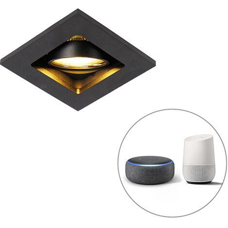 QAZQA + Moderno Foco empotrable negro bombilla-WiFi GU10 orientable - QURE Aluminio Cuadrada Adecuado para LED Max. 1 x 5 Watt