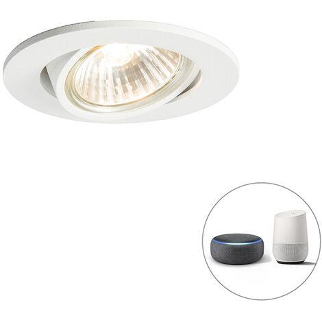 QAZQA + Moderno Foco empotrable orientable blanco bombilla-WiFi-GU10 - CISCO Aluminio Redonda Adecuado para LED Max. 1 x 5 Watt