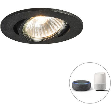 QAZQA + Moderno Foco empotrable orientable negro bombilla-Wifi-GU10 - CISCO Aluminio Redonda Adecuado para LED Max. 1 x 5 Watt