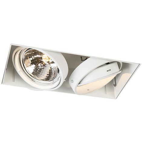 QAZQA Moderno Foco empotrado blanco AR111 - ONEON 111-2 trimless Acero Rectangular Adecuado para LED Max. 2 x 50 Watt