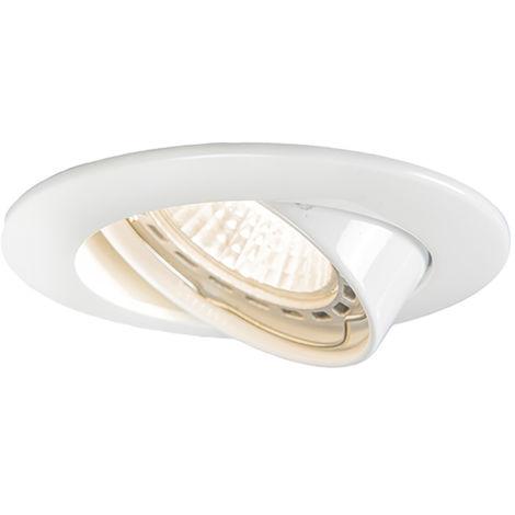 QAZQA Moderno Foco empotrado blanco - EDU Aluminio Redonda Adecuado para LED Max. 1 x 50 Watt
