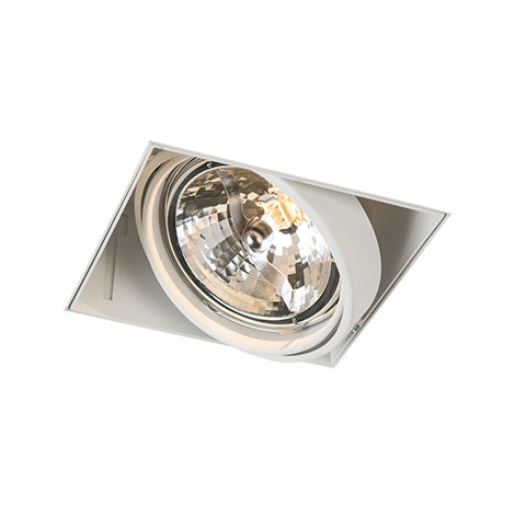 QAZQA Moderno Foco empotrado blanco orientable 1-luz sin molduras - ONEON 111-1 Trimless Acero Cuadrada Adecuado para LED Max. 1 x 50 Watt