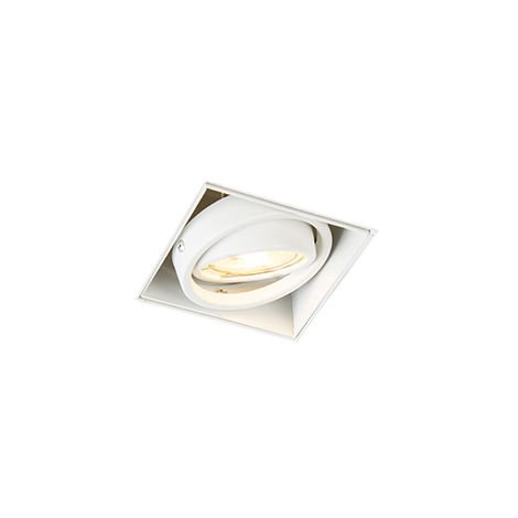 QAZQA Moderno Foco empotrado blanco orientable sin molduras 1-luz - ONEON 1Trimless Acero Cuadrada Adecuado para LED Max. 1 x 50 Watt