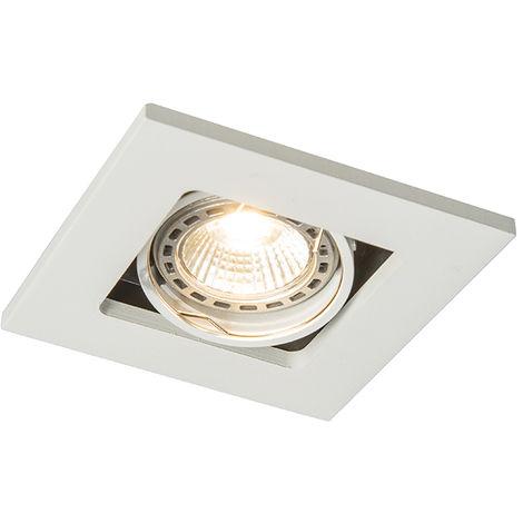 QAZQA Moderno Foco empotrado blanco - QURE Aluminio Cuadrada Adecuado para LED Max. 1 x 50 Watt