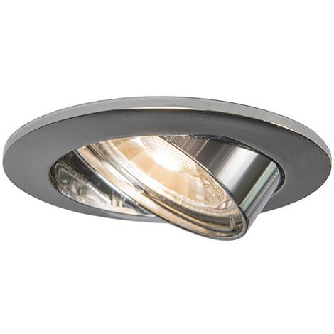 QAZQA Moderno Foco empotrado cromo orientable - EDU Aluminio Redonda Adecuado para LED Max. 1 x 50 Watt
