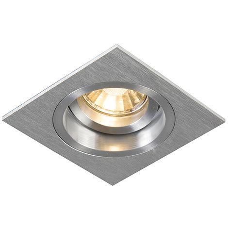 QAZQA Moderno Foco empotrado cuadrado aluminio orientable - CHUCK Acero Cuadrada Adecuado para LED Max. 1 x 50 Watt