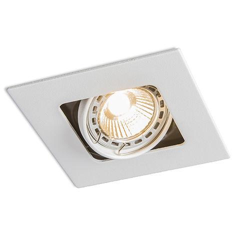 QAZQA Moderno Foco empotrado cuadrado blanco orientable - ARTEMIS Metálica Cuadrada Adecuado para LED Max. 1 x 50 Watt
