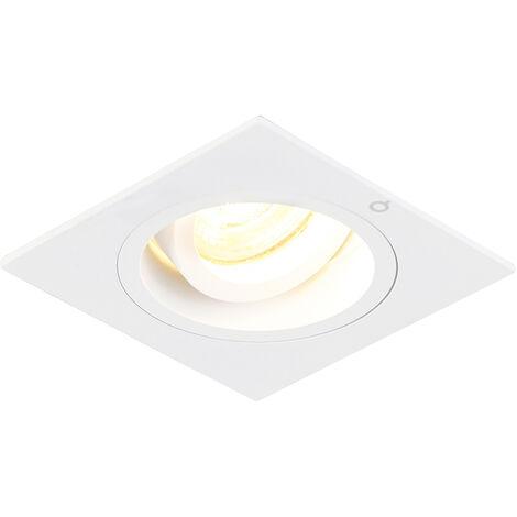 QAZQA Moderno Foco empotrado cuadrado blanco orientable - CHUCK Acero Cuadrada Adecuado para LED Max. 1 x 50 Watt