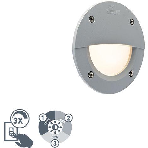QAZQA Moderno Foco empotrado de pared semi-circular moderno gris LED IP65 - LETI Plástico Redonda Adecuado para LED Max. 1 x 3 Watt