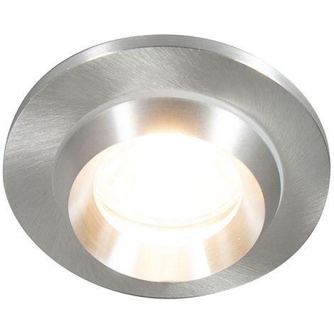 QAZQA Moderno Foco empotrado moderno aluminio IP54 - SPA /Vidrio Redonda Adecuado para LED Max. 1 x 50 Watt