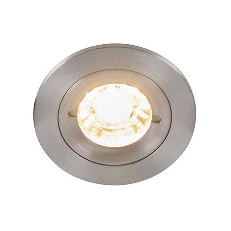 QAZQA Moderno Foco empotrado moderno aluminio IP54 - XENA Round Redonda Adecuado para LED Max. 1 x 50 Watt