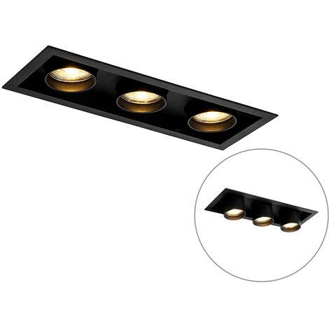 QAZQA + Moderno Foco empotrado moderno negro orientable 3-luces - ROOF Aluminio Rectangular Adecuado para LED Max. 3 x 50 Watt