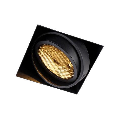 QAZQA Moderno Foco empotrado negro 1-luz GU10 AR111 sin-marco - ONEON Honey Acero Cuadrada Adecuado para LED Max. 1 x 50 Watt
