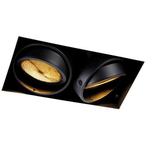 QAZQA Moderno Foco empotrado negro 2-luces GU10 AR111 sin-marco- ONEON Honey Acero Rectangular Adecuado para LED Max. 2 x 50 Watt