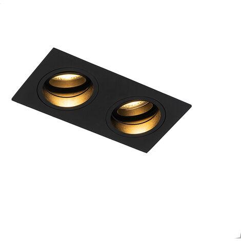 QAZQA + Moderno Foco empotrado negro orientable 2-luces - CHUCK Aluminio Rectangular Adecuado para LED Max. 2 x 50 Watt