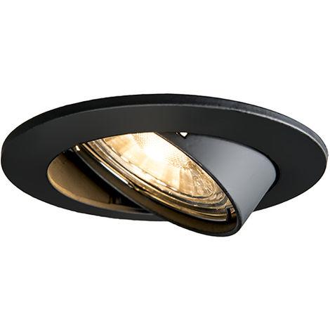 QAZQA Moderno Foco empotrado negro orientable - EDU Aluminio Redonda Adecuado para LED Max. 1 x 50 Watt